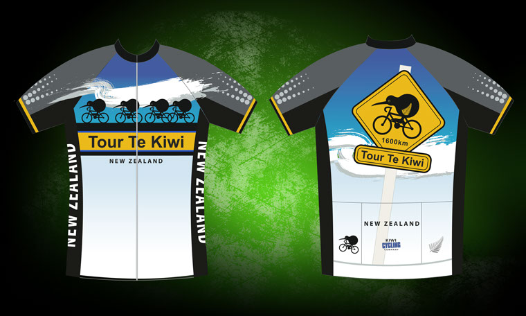 Tour Te Kiwi New Zealand souvenir cycle jersey.